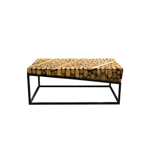 Table basse rectangulaire en bois exotique et piètement métal - design exotique & contemporain - ALKA
