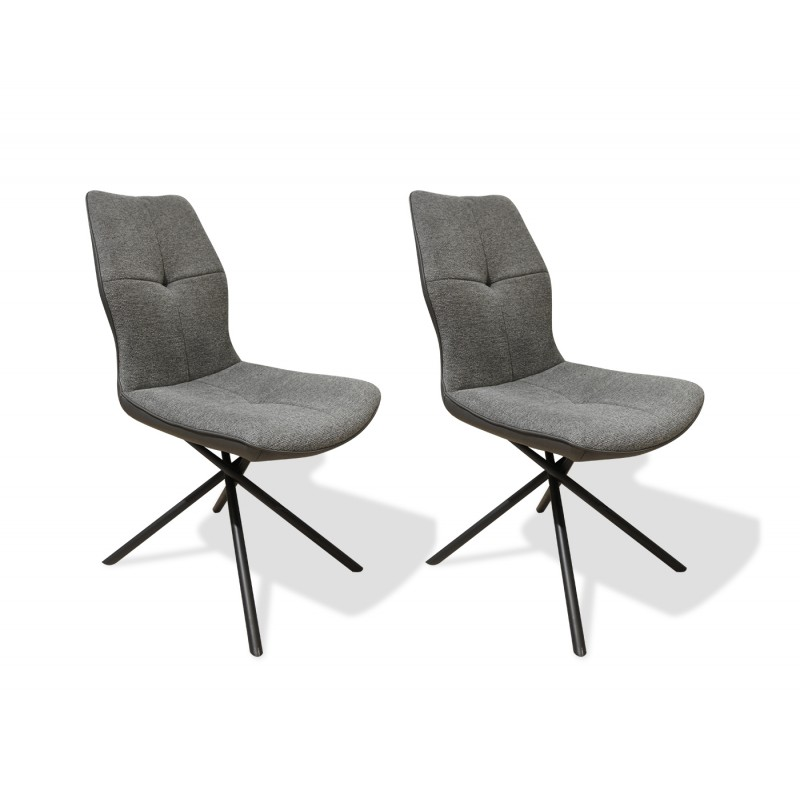 Lot de 2 chaises tissu et simili gris anthracite et pieds métal noir - design contemporain industriel - MONTAINE