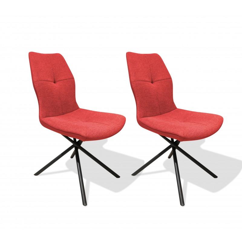Lot de 2 chaises tissu et simili rouge et pieds métal noir - design contemporain industriel - MONTAINE