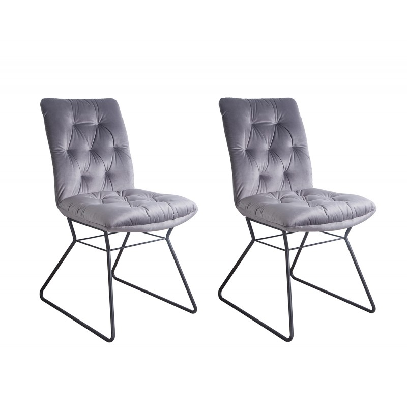 Lot de 2 chaises tissu velours gris et piètement métal noir - design vintage contemporain - BLISS