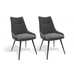 Lot de 2 chaises tissu gris et pieds métal noir - design contemporain industriel - OLBIA