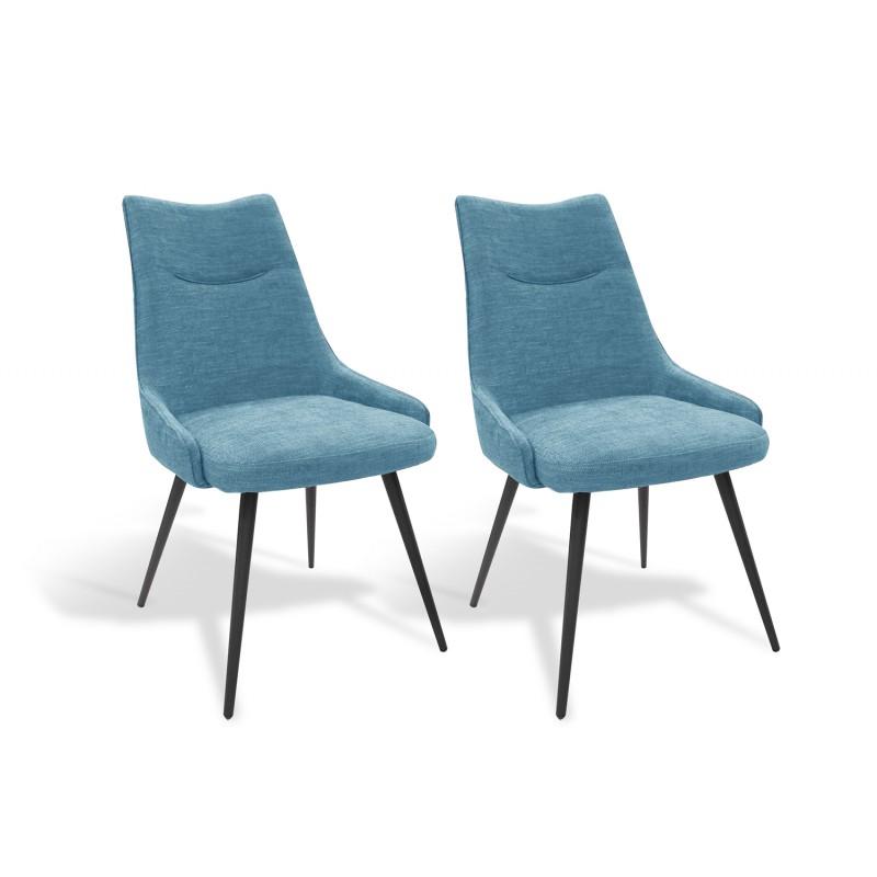 Lot de 2 chaises tissu bleu et pieds métal noir - design contemporain industriel - OLBIA