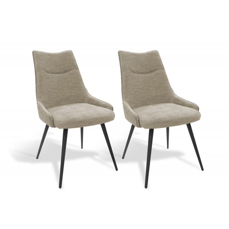 Lot de 2 chaises tissu beige OLBIA