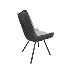 Lot de 2 chaises tissu bicolore gris clair et pieds métal noir CONFORT & QUALITE - design contemporain industriel - SURI