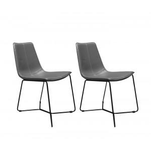 Lot de 2 chaises grises en simili et piètement métal filaire noir - design vintage contemporain - STEEVE