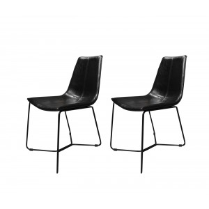 Lot de 2 chaises noires en simili et piètement métal filaire noir - design vintage contemporain - STEEVE