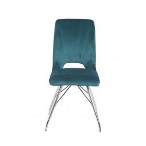 Lot de 4 chaises velours bleu et pieds acier chromé - Confort & Qualité - design contemporain vintage - BELLA