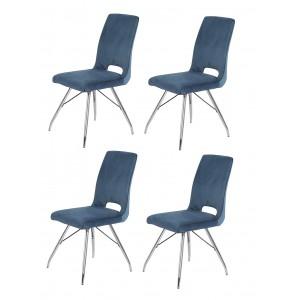Lot de 4 chaises velours bleu marine et pieds acier chromé - Confort & Qualité - design contemporain vintage - BELLA