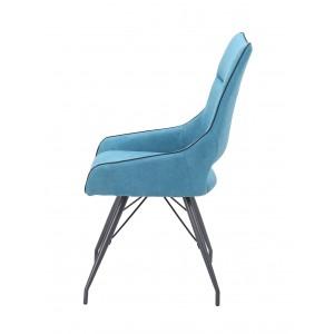 Lot de 2 chaises tissu bleu et pieds métal - Confort & Qualité - design contemporain industriel - ANAÏS