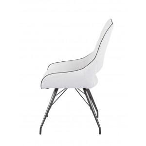 Lot de 2 chaises tissu gris clair et pieds métal - Confort & Qualité - design contemporain industriel - ANAÏS