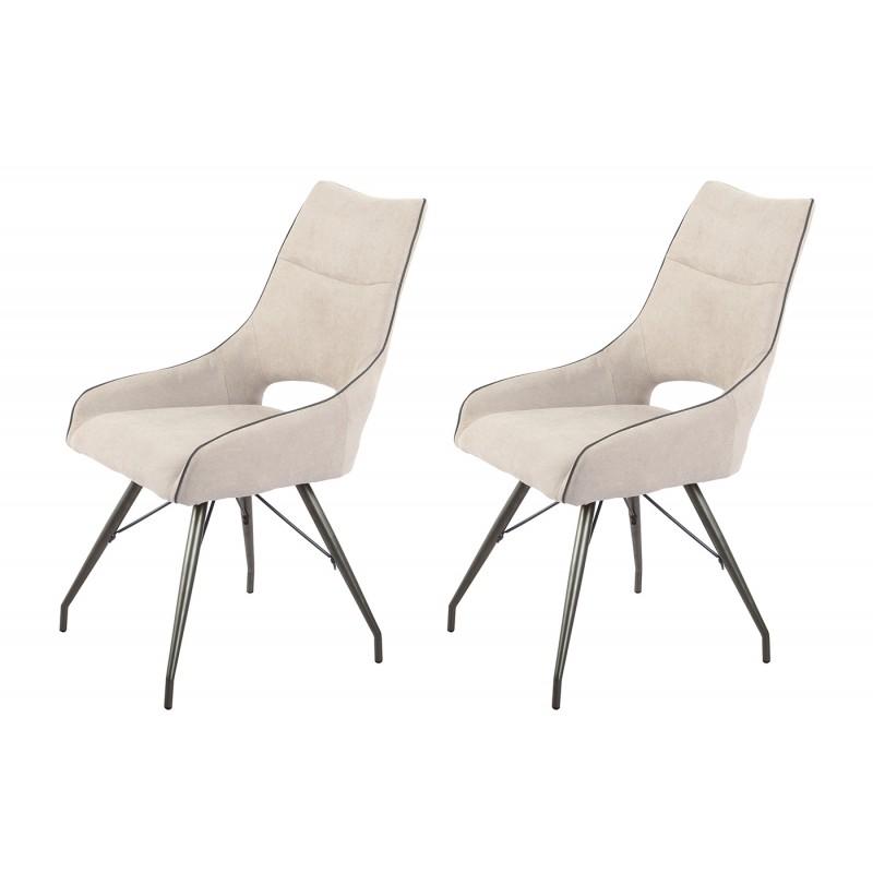 Lot de 2 chaises tissu beige et pieds métal - Confort & Qualité - design contemporain industriel - ANAÏS