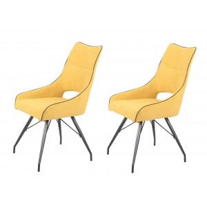 Lot de 2 chaises tissu jaune et pieds métal - Confort & Qualité - design contemporain industriel - ANAÏS