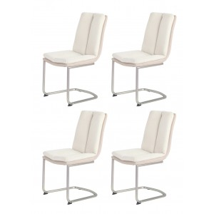 Lot de 4 chaises écru/beige et pieds chromé - ULTRA CONFORT SUPER SOFT - design contemporain - DOLCE
