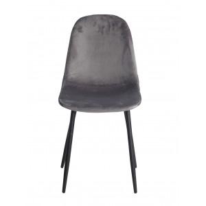 Lot de 2 Chaises velours gris anthracite et pieds métal noir - BIBA