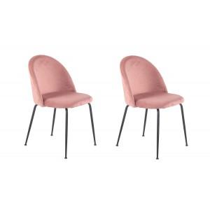 Lot de 2 Chaises  velours rose et pieds métal noirs - FARA