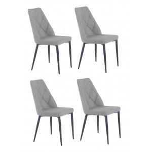 Lot de 4 chaises tissu gris capitonné RITA