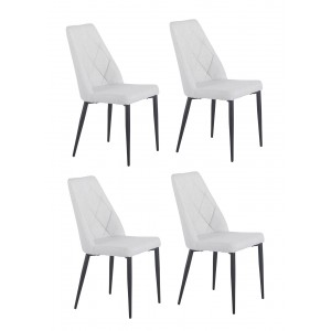 Lot de 4 chaises tissu gris clair capitonné RITA