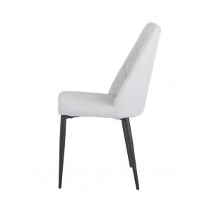 Lot de 4 chaises tissu gris clair capitonné et pieds métal noir - RITA