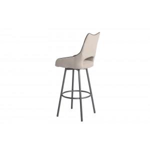 Lot de 2 chaises hautes de bar tissu beige/taupe et piétement métal pivotant - ROY