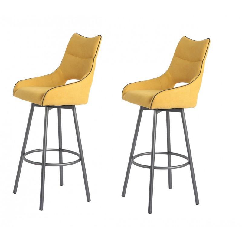 Lot de 2 chaises hautes de bar tissu jaune et piétement métal pivotant - ROY