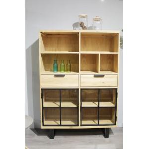 Bibliothèque vitrine en chêne massif et métal - Armoire Design Industriel Factory - FABRIK