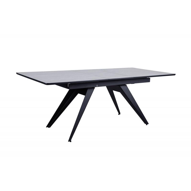 Table de repas extensible 160/200 cm rectangulaire mélamine effet béton gris et piétement métal - CITY