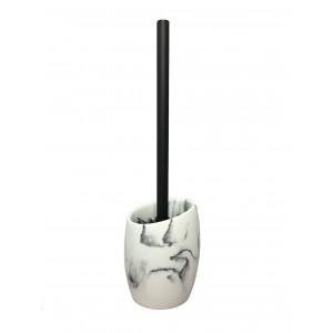 Brosse de toilette et support en polyrésine et pierre naturelle aspect marbre blanc - CARLA