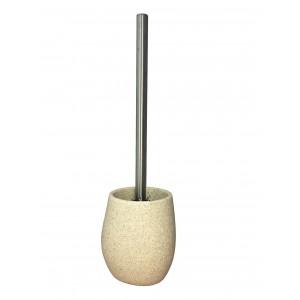 Brosse de toilette et support en polyrésine et pierre naturelle aspect galet beige - ELOA