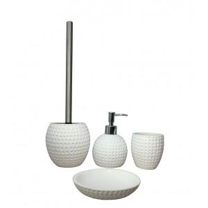 Brosse de toilette et support en polyrésine et pierre naturelle aspect rond blanc - JULIA