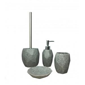 Brosse de toilette et support en polyrésine et pierre naturelle gris - KESIA