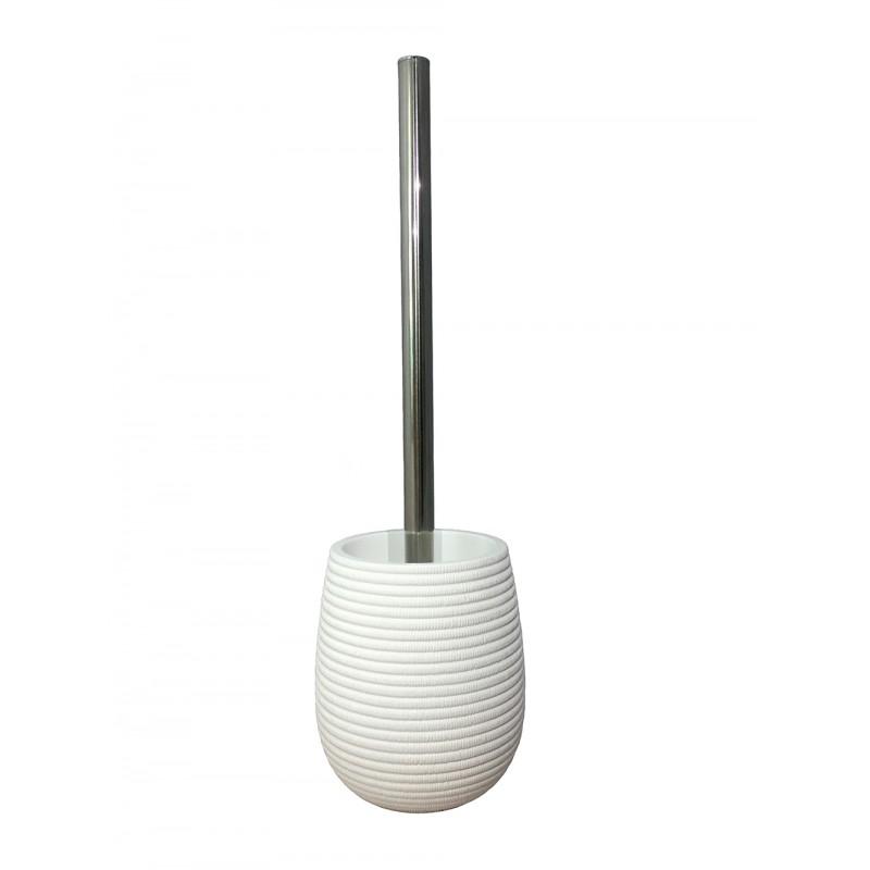 Brosse de toilette et support en Polyrésine et base minérale blanc - LANA