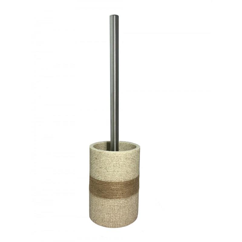 Brosse de toilette et support en Polyrésine et pierre naturelle beige - VERA