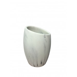 Set 3 accessoires salle de bain en polyrésine et pierre naturelle aspect marbre  blanc - CARLA