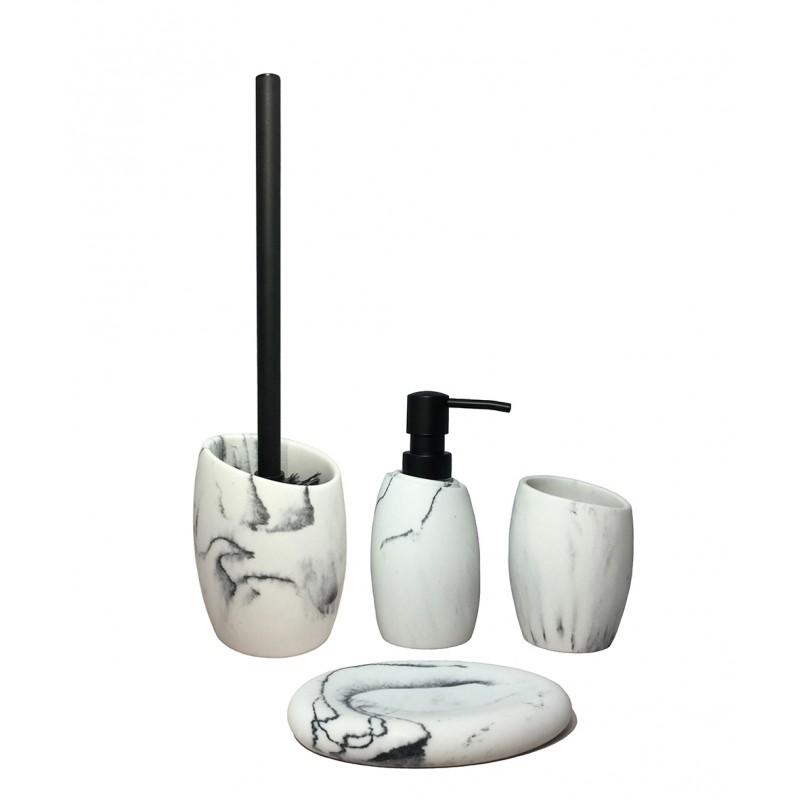 Set 4 accessoires salle de bain en polyrésine et pierre naturelle aspect marbre  blanc - CARLA