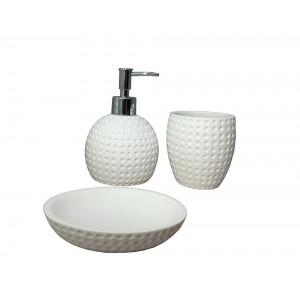 Set 3 accessoires salle de bain en polyrésine et pierre naturelle aspect rond blanc - JULIA