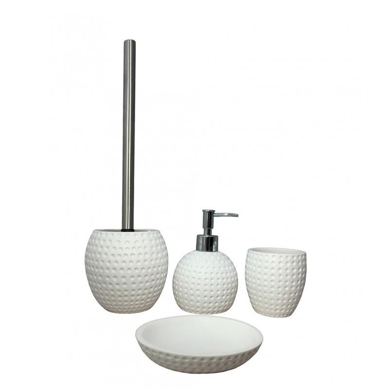 Set 4 accessoires salle de bain en polyrésine et pierre naturelle aspect rond blanc - JULIA