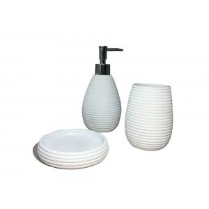 Set 3 accessoires salle de bain en Polyrésine et base minérale blanc - LANA