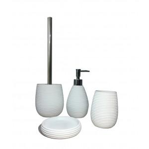 Set 4 accessoires salle de bain en Polyrésine et base minérale blanc - LANA