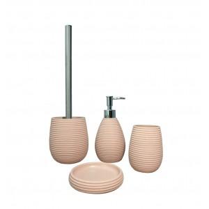 Set 4 accessoires salle de bain en Polyrésine et base minérale rose - SARA