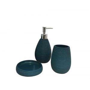 Set 3 accessoires salle de bain en Polyrésine et base minérale bleu - TANIA