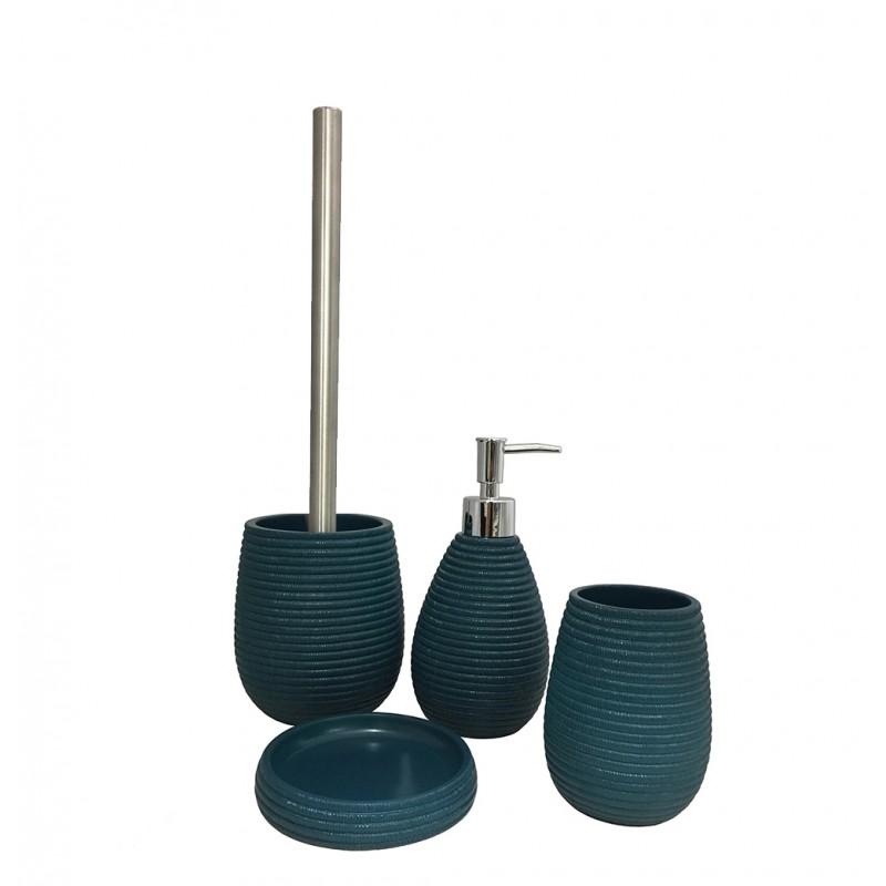 Set 4 accessoires salle de bain en Polyrésine et base minérale bleu - TANIA