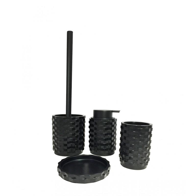 Set 4 accessoires salle de bain en Polyrésine et base minérale  noir - WENDY