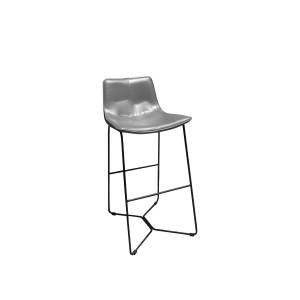 Tabouret de bar gris en simili et piètement métal filaire noir - Chaise haute design vintage contemporain - STEEVE