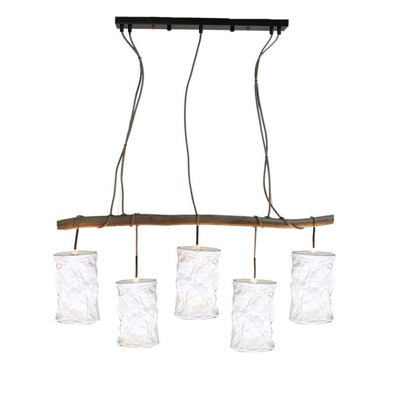 Suspension lustre 5 abats-jour blanc -design campagne chic, classique, nature - WOODEN