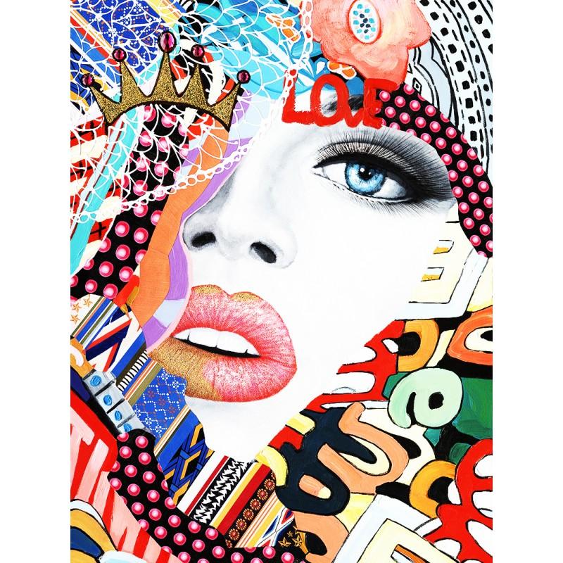 Toile peinture et collage tableau décoratif mural multicolore - COLOR DREAM