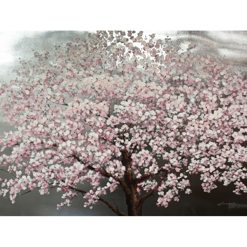 Peinture sur toile 120 cm cadre décoratif mural tableau arbre en fleur - CHERRY BLOSSOM