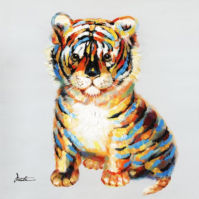 Peinture sur toile 60 cm cadre décoratif mural tableau bébé tigre - TIGROU