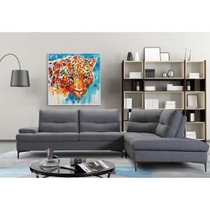 Peinture sur toile 100 cm cadre décoratif mural tableau tête de panthère multicolore - PANTERA