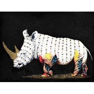 Peinture sur toile 120 cm cadre décoratif mural rhinoceros multicolore - RHINO GOLD