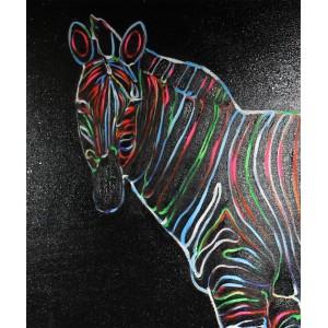 Peinture sur toile 120 cm cadre décoratif mural noir zèbre multicolore - ZEBRA NEON